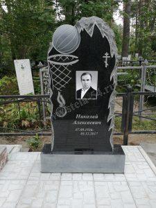 Памятник тренеру из гранита с баскетбольным мячом и корзиной