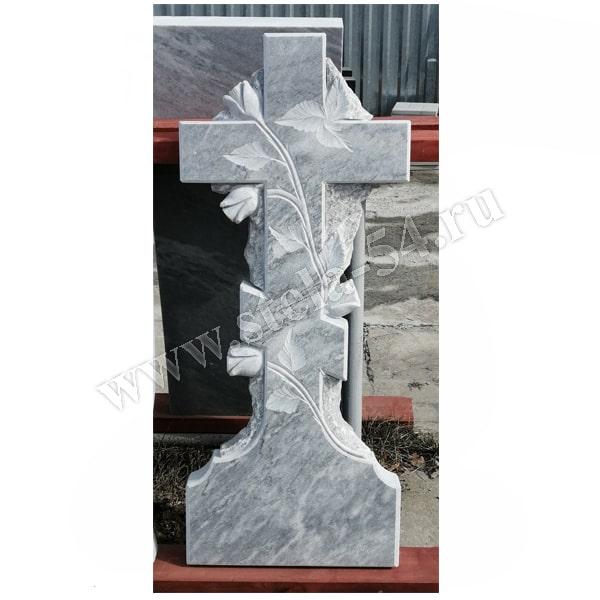 крест из серого мрамора на могилу