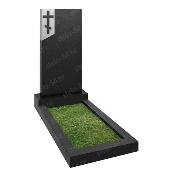 Прямоугольный памятник с крестом