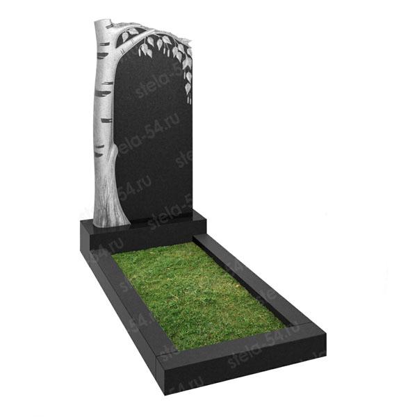 Памятник в виде березы из черного гранита