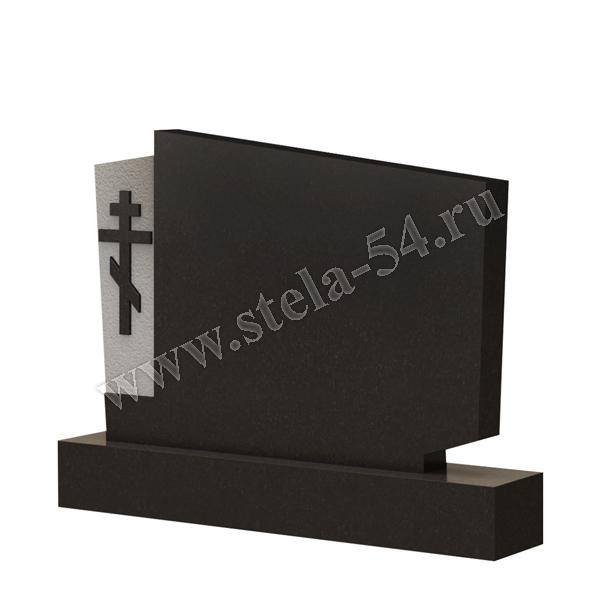 фигурный памятник из гранита на двоих с крестом